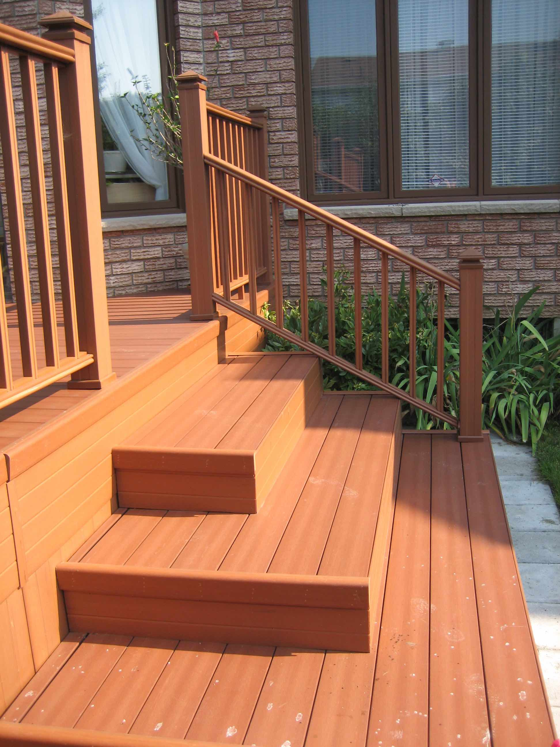 cedar deck, stairs and railing