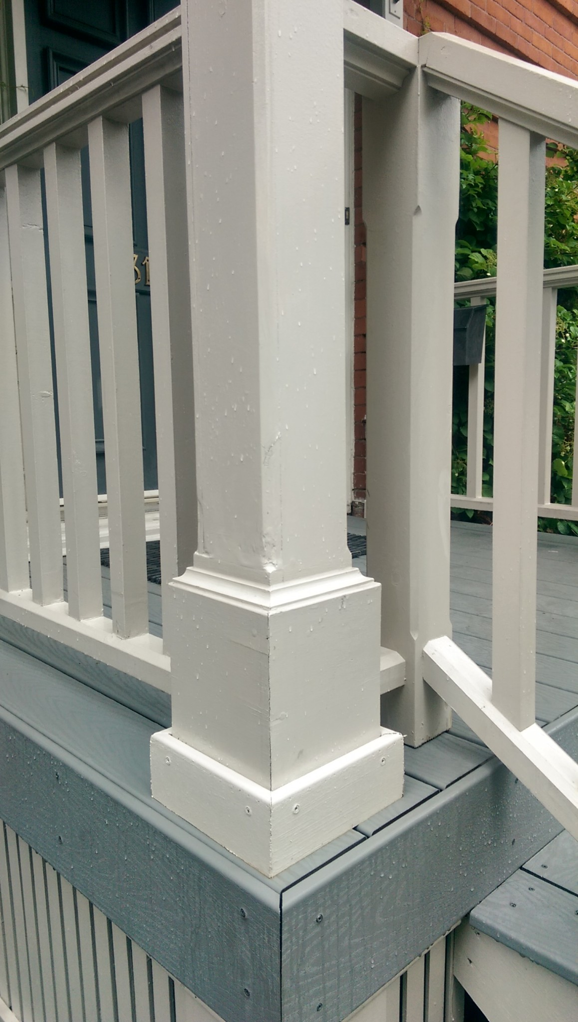 custom corner post for deck install
