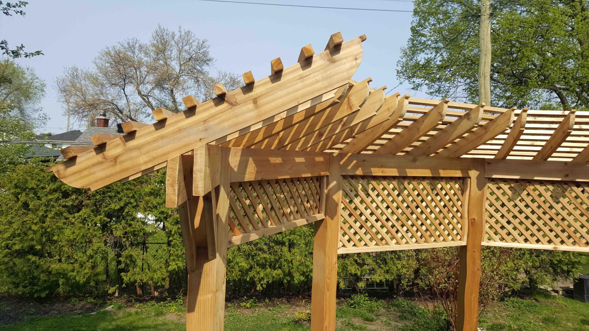 ottawa pergola installed in backyard