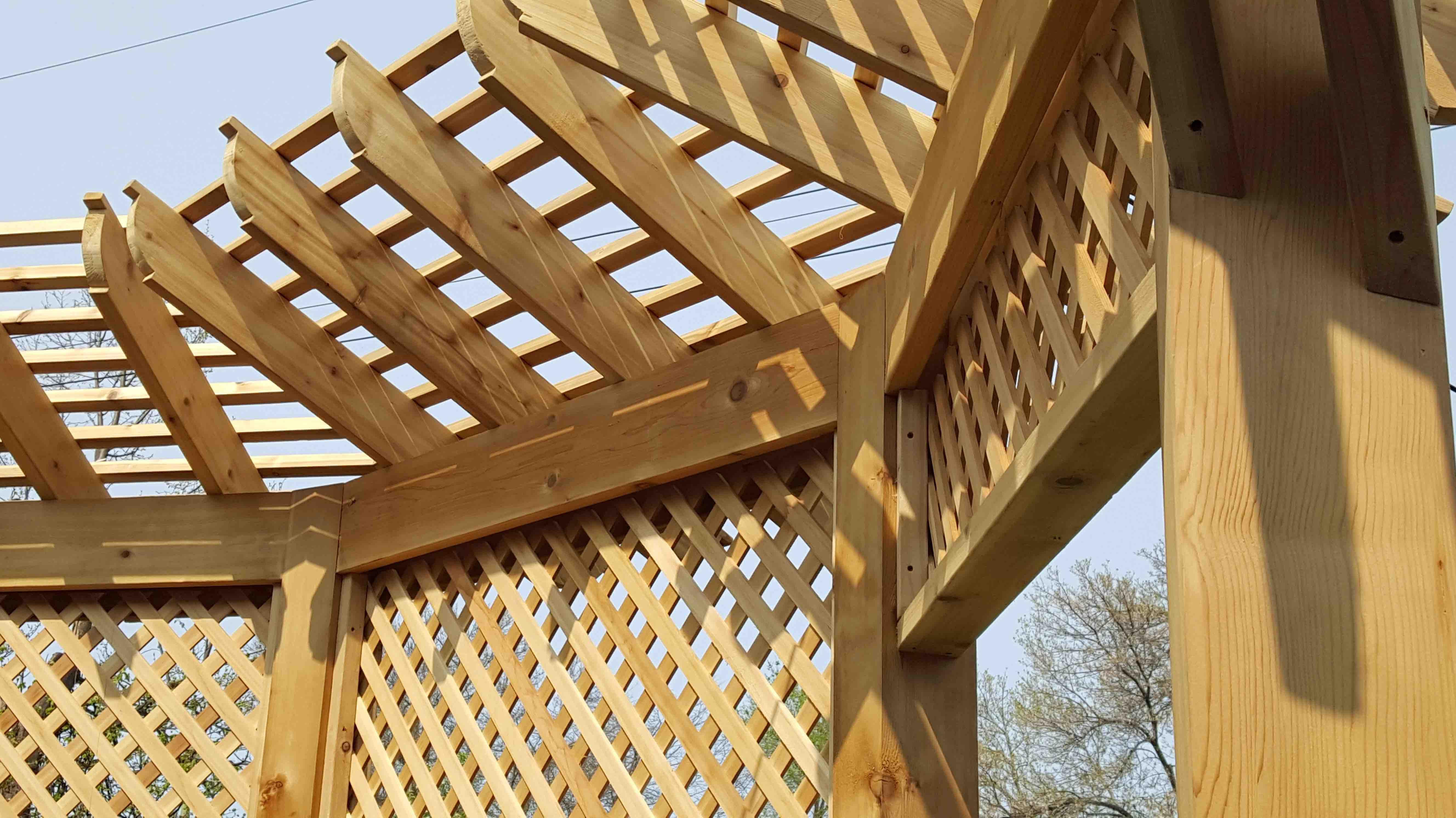 lattice and awning adorn a ottawa pergola