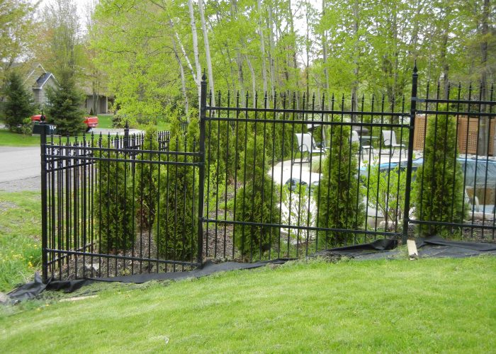 custom iron fence in ottawa backyard