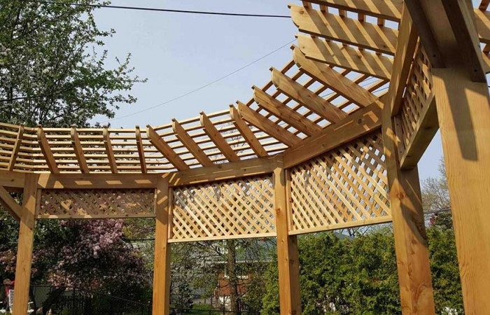 custom designed wood pergola