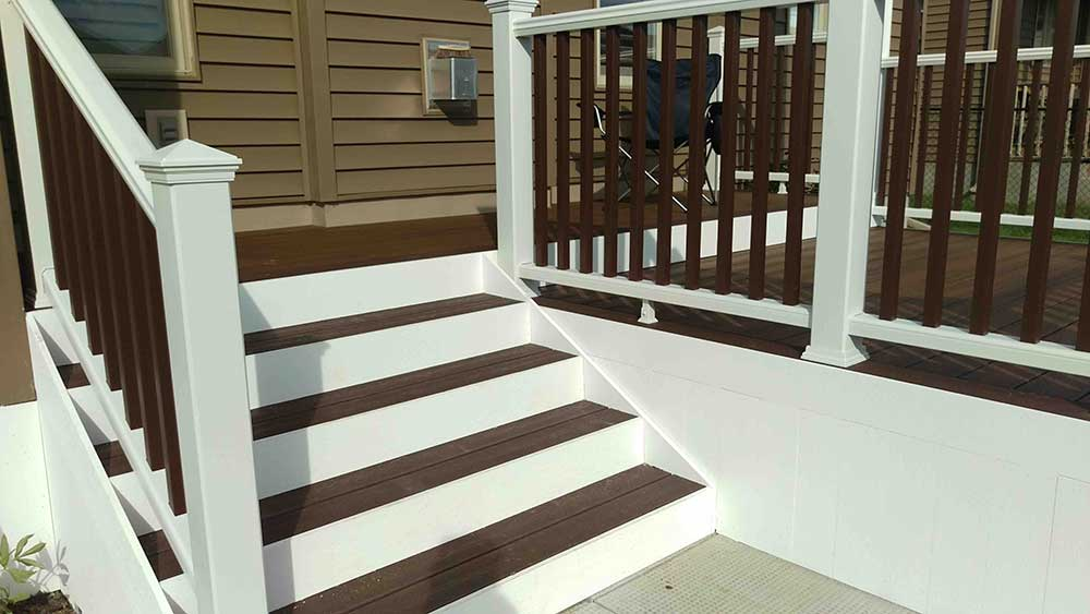 Ottawa patio stairs in white and brown two tone